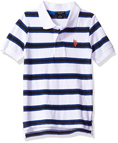 - U.S. Polo Assn. Little Boys' Short Sleeve Yarn Dye Heather Pique, White, 4