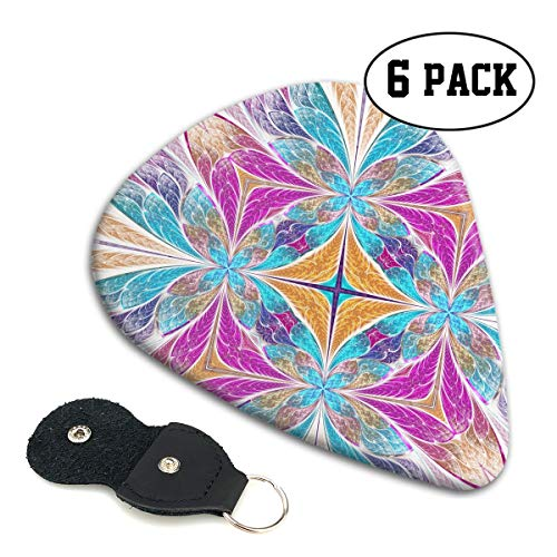 LXXTK Unique Beautiful Flower Pattern in Stained Glass Window Style Celluloid Guitar Pick 6 Pack - Music Gifts for Bass, Electric & Acoustic ()