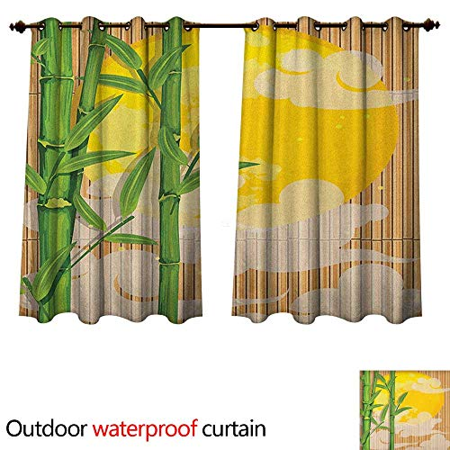 Asian Outdoor Curtain for Patio Bamboo Tree Branches Full Moon and Abstract Curvy Clouds Stars Eastern W63 x L63(160cm x 160cm) ()