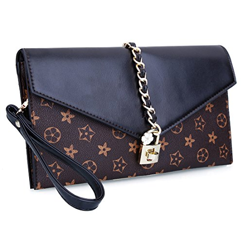 - EROGE Evening Bag Women Oversized Flower Designer Evening Clutch Handbag Wristlet with Lock (Black)