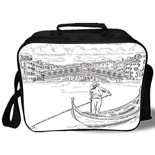 Venice 3D Print Insulated Lunch Bag,Rialto Bridge with Gondola Romantic Italian Landmark Inspired Sketchy Cityscape Decorative,for Work/School/Picnic,Black White