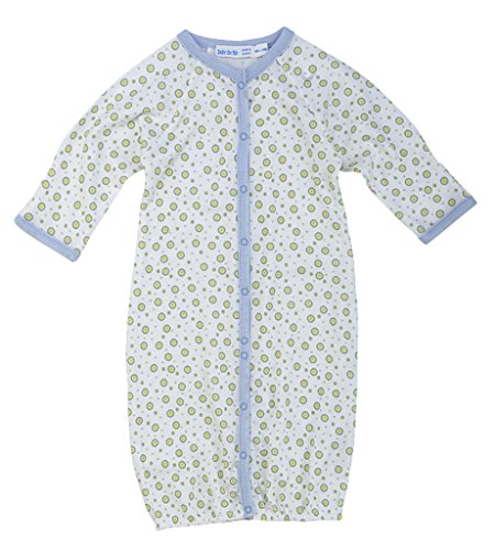 (Newborn Organic Cotton Convertible Bunting to Romper Baby Infant Gown, Blue Dots, Multicolor, 3 Months Old )