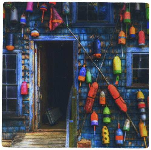"""Price comparison product image 3dRose USA, Maine, Bernard, Buoys On An Old Shed At Bass Harbor. Mouse Pad, 8"""" x 8"""" (mp_191128_1)"""