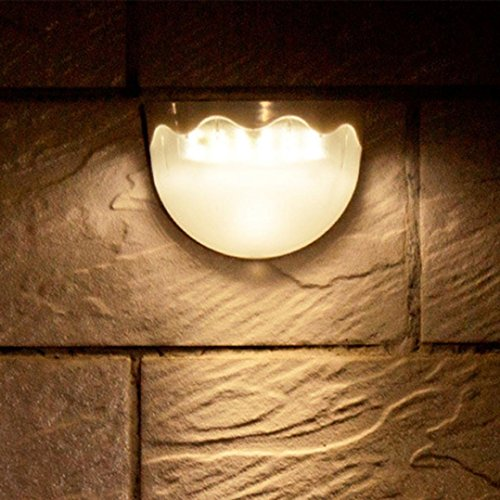 - LiPing Outdoor Decorative Lights-Solar Power Light Sensor 6 LED Wall Light Outdoor Garden Fence Waterproof Lamp (Yellow)