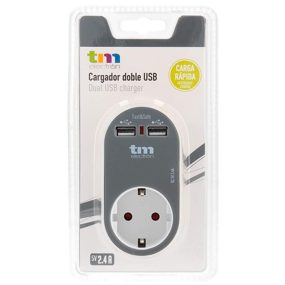 Adaptador de corriente cargador con una toma de enchufe y 2 tomas USB color rosa TM Electron TMUAD114P