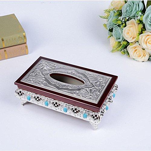 Retro Lluxurious Wooden Tissue Box Holder Cover, silver, 14.5x25.5x10cm
