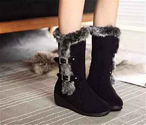 Womens Winter Warm Faux Fur Buckle Hidden Wedge Heels Platform Slip-resistant Waterproof Mid Calf Snow Boots Black e0tx8zm