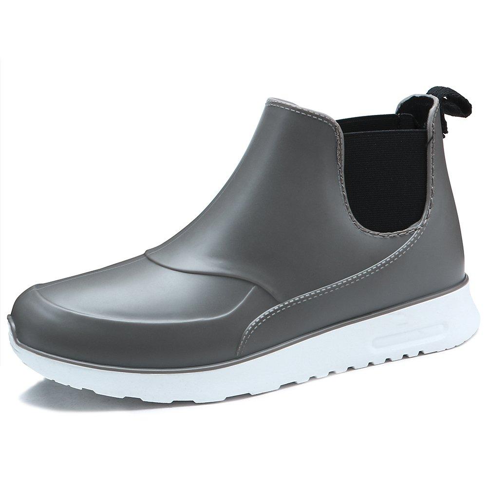 TONGPU Men's Slip ONS Waterproof Footwear Fashion Rain Boots (7.5, Grey)