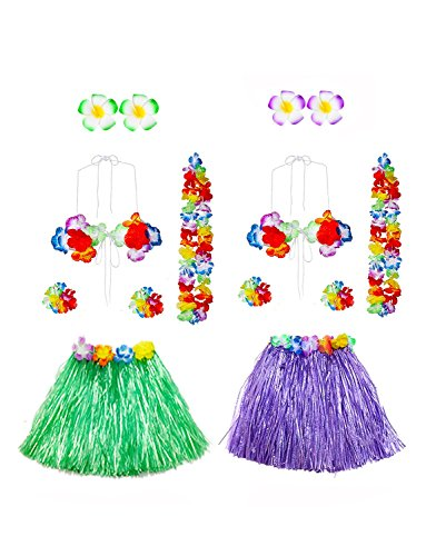 Gorse Hawaiian Dancer Grass Hula Skirt for Girls Elastic Costume Party Decorations Hawaiian Luau Costume Set for Party Favors - Dancer Skirt