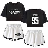 Flyself Unisex Two Pieces Blackpink Printed T-Shirt Set Summer Pajama Set Crop Tops and ShortsTracksuits Casual Pajamas…