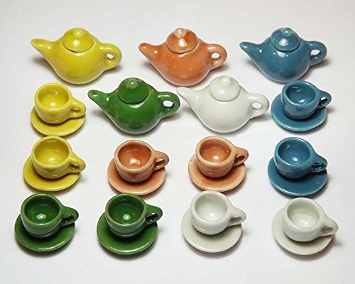 25 Pcs Dollhouse Miniature Mixed Colors Ceramic Tea Pots & Cups Sets from Unbranded