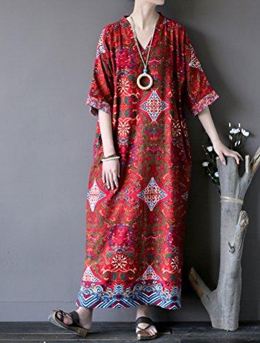 MatchLife Robe Rouge Manches et Kimono Ample Tunique Col Longue Lin Oversize 2 Maxi V 4 en Femme Coton RqxErTR