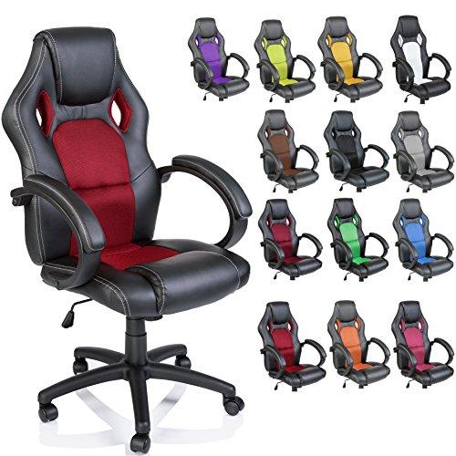 TRESKO Silla giratoria de oficina Sillon de escritorio Racing, silla Gaming ergonomica, cilindro neumatico certificado por SGS (Negro/Rojo)