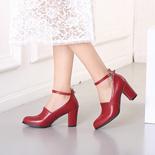 Charm Foot Womens Vintage Tacco Grosso Mary Jane Pumps Scarpe Vino Rosso