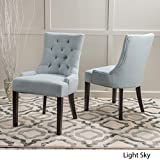 Stacy Light Sky Fabric Dining Chairs (Set of 2)