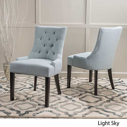 Stacy Light Sky Fabric Dining Chairs (Set of 2) by Great Deal Furniture