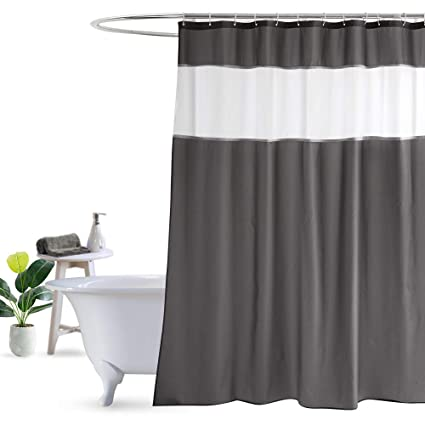 UFRIDAY Dark Gray Shower Curtain With White Mesh Window Fabric Bathroom Weighted
