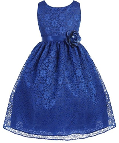 Little-Girls-Adorable-Lace-Overlay-Spring-Summer-Flowers-Girls-Dresses