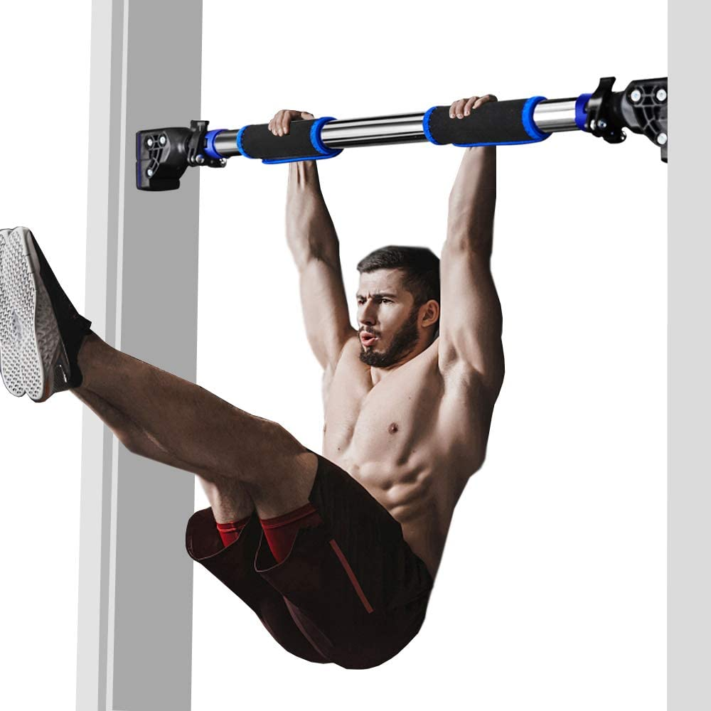 Chin Up Bar No Screw Installation KMM Pull Up Bar for Doorway up to 440 lbs Exercise Fitness Workout Bar with Level Meter and Adjustable Width Upper Body Workout Bar