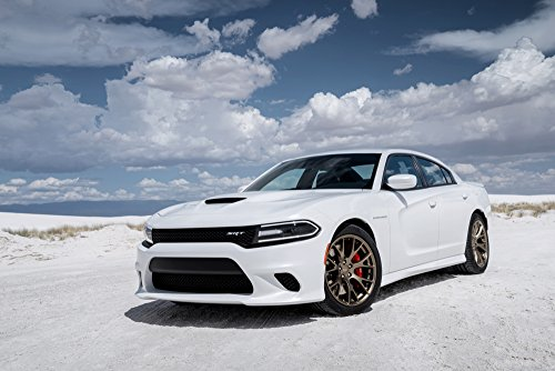 Classic and Muscle Car Ads and Car Art Dodge Charger SRT Hellcat (2015) Car Art Poster Print on 10 mil Archival Satin Paper White Front Side Parked View 16