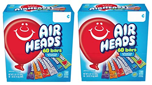 Airheads IUYEHDUH Bars Chewy Fruit Candy, Variety Pack, Party, Halloween, 60 Count Packaging May Vary 2 Pack -