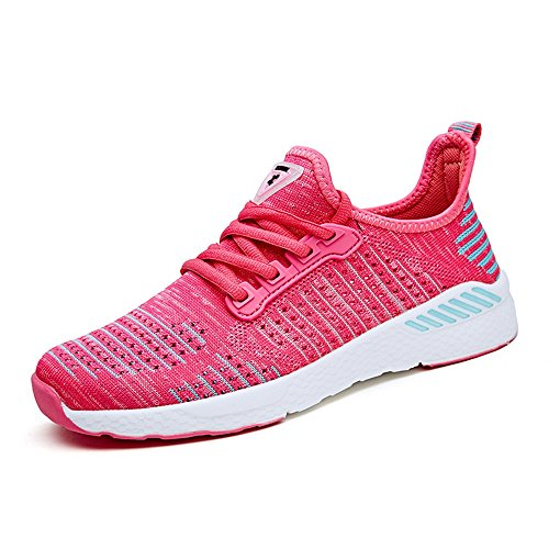 Easy Go Shopping Women and Men's Flat Heel Lace up Mesh Fabric Vamp Fashionable Athletic Shoes Cricket Shoes Rose Red IQGwPa3