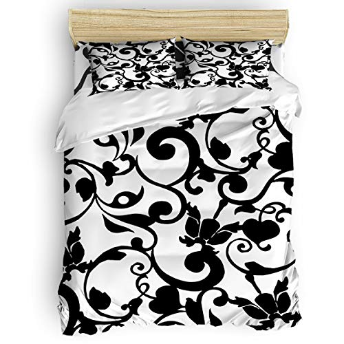 Yogaly Home Bedding Set 4 Pieces Queen Size for Adults/Teens/Children/Baby Black and White Brocade Floral Swirls Print Pattern Printed Bed Sheets, Duvet Cover, Flat Sheet, Pillow Covers
