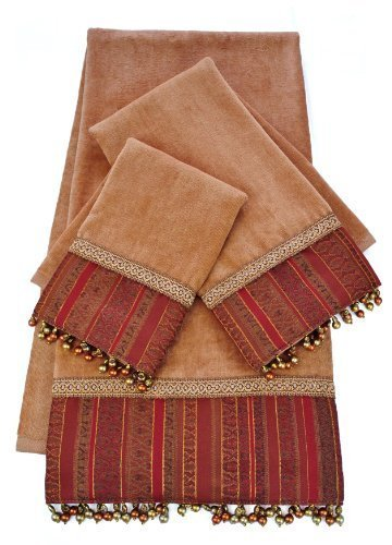 Sherry Kline Belvedere Gold-Brick 3-piece Embellished Towel Set by Sherry Kline Decorative Towel