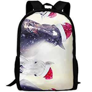 LKZD Funny Christmas Horses Unisex Fashion Backpack Business Travel Sports Bag