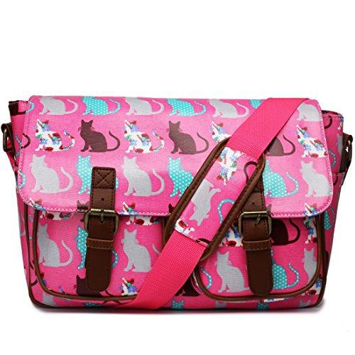 Miss Lulu Oilcloth Prints Satchel Messenger Shoulder School Bag (Cat Pink)