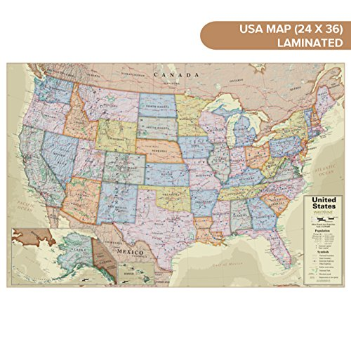 USA Wall Map Antique Ocean (24