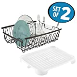 dish drain side - mDesign mDesign Large Kitchen Countertop, Sink Dish Drying Rack with Removable Cutlery Tray and Drainboard with Swivel Spout - Set of 2, Rustproof Bronze Wire / Frost BPA Free Plastic