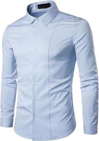 Gdtime Camisa De Vestir De Negocios para Hombres, Color Sólido Clásico, Manga Larga, Corte Slim, Camisas Casuales, Camisa De Vestir Resistente a Las Arrugas para Hombres, Tamaño: Amazon.es: Ropa y accesorios
