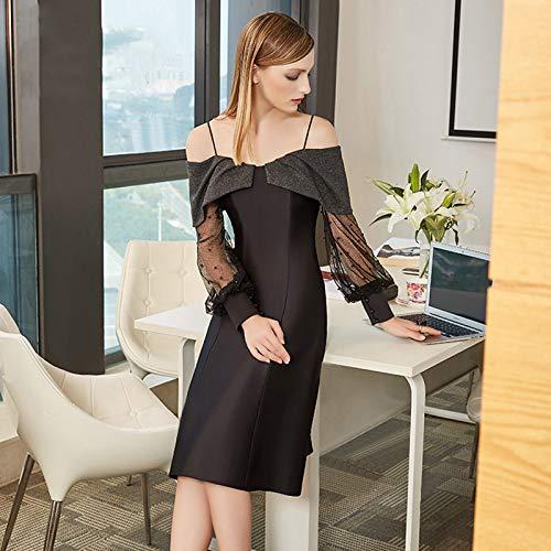 Xl Soirée Jupe Bingqz Banquet Longue Robe Fête Cocktailrobe Paragraphe Princesse Épaule D'anniversaire Noire De Tutu wHxE6XxR