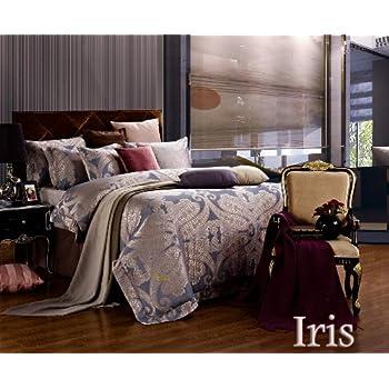 Dolce Mela DM478Q Jacquard Damask Luxury Bedding Duvet Covet Set, Queen