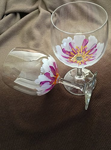 White/Purple Peony Wine Glasses--Set of 2--Hand Painted Glassware--Customized Options Available for Glassware/Color Selection (Peony Set Teacup)