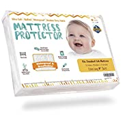 "Crib Mattress Protector - Waterproof Pad Cover, Ultra-Soft Bamboo, Fitted Sheet with Large 9"" Skirt - Quilted, Washer/Dryer Friendly with Stain Protection for Baby Bed"