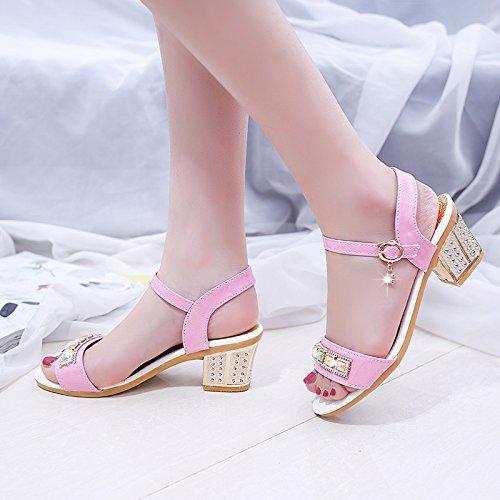 Moda Mujer verano sandalias confortables tacones altos Pink