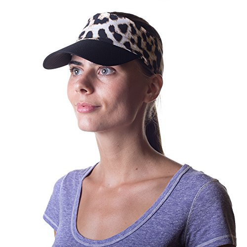 Leopard Visor (Womens Sun Visor Hat with Ponytail Hole Multi-Color Head-wrap for Active Lifestyle Women (Leopard Print))