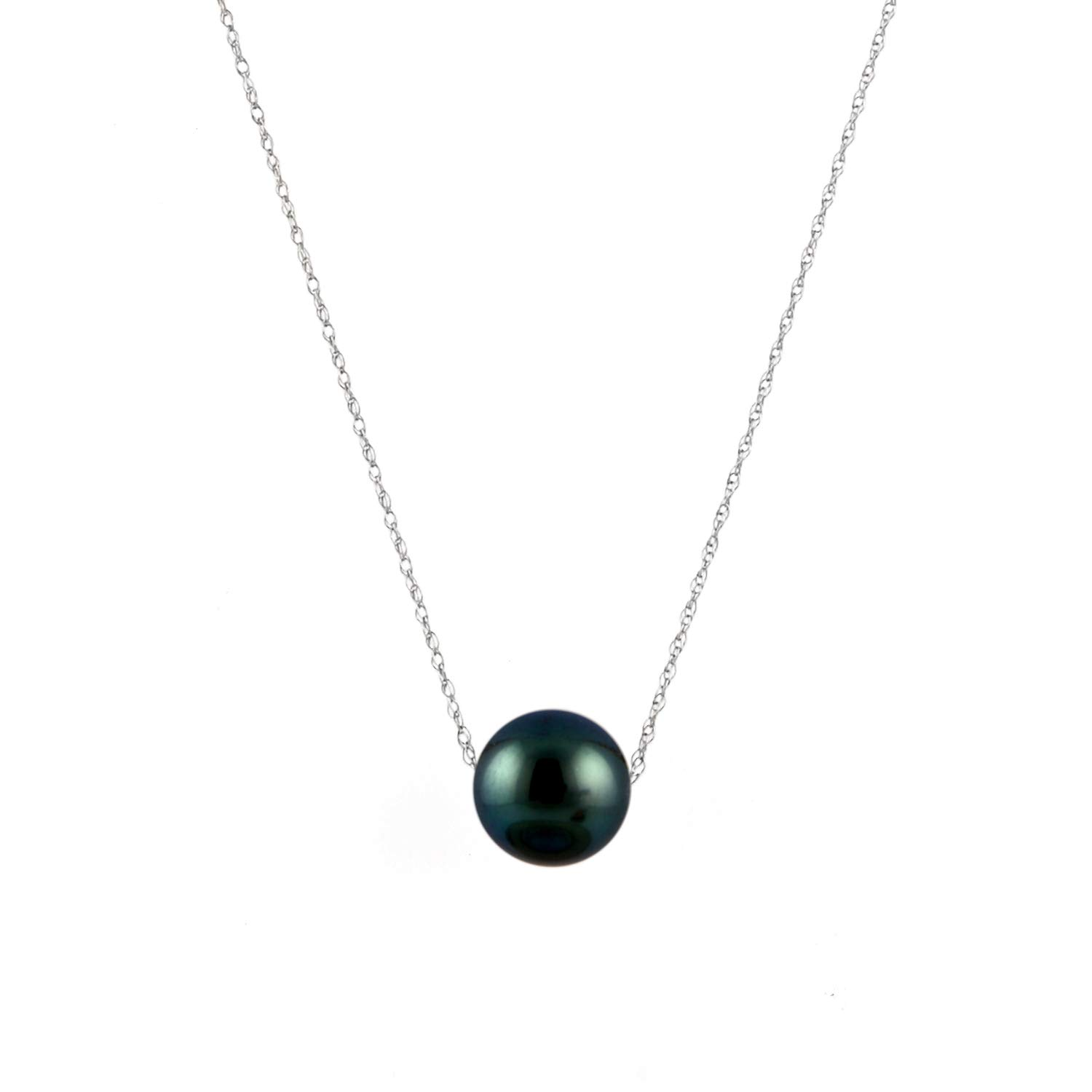 14K Gold 8-9mm Tahitian South Sea Cultured Floating Pearl Tin Cup Chain Necklace Jewelry for Women 17''