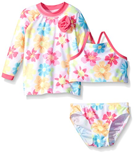 Sol Swim Little Girls Summer Sweety 3 Piece Rashguard Set, Summer Sweety, 5