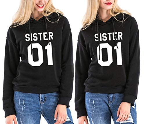 Sister Hoodie Kids (Best Friends Hoodies Sister 2 Pack BFF Couple Hooded Sweatshirt For Teen Girls (Black-1, XL+2XL))
