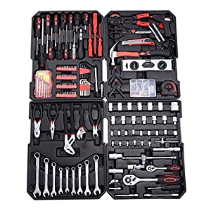 PROSPERLY U.S.Product New 599 PCS Tool Set Mechanics Tool Kit Wrenches Socket w/Trolley Case