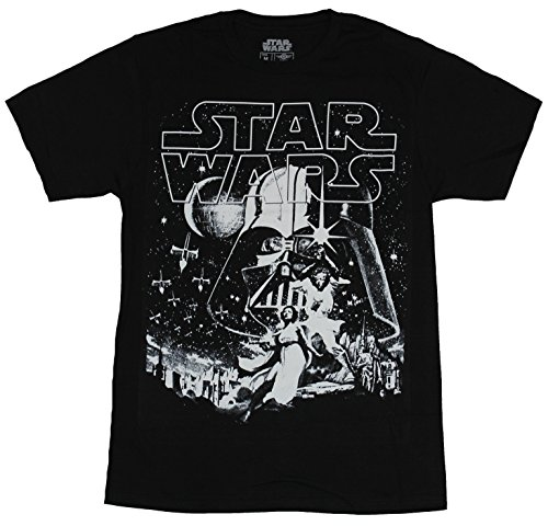Ptshirt.com-19312-Star Wars Mens T-Shirt - New Hope Style Image Under Giant Vader White Print-B0178HIF5O-T Shirt Design