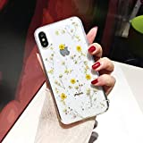iPhone 7/8 Flower Case, Shinymore Soft Clear Flexible Rubber Pressed Dry Real Flowers Case Girls Glitter Floral Cover for iPhone 8/ iPhone 7-Yellow
