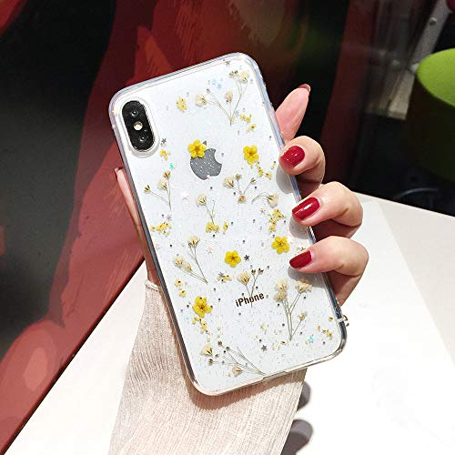 iPhone 8 Plus Flower Case, Shinymore Soft Clear Flexible Rubber Pressed Dry Real Flowers Case Girls Glitter Floral Cover for iPhone 7 Plus/8 Plus-Yellow