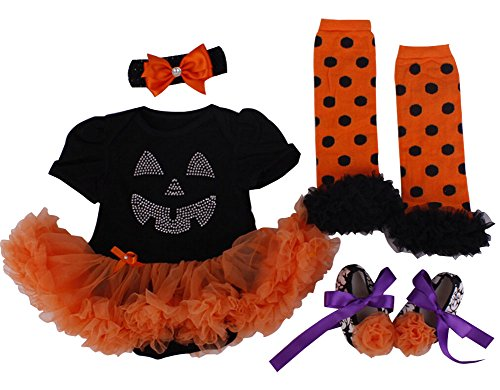 Size 0 Halloween Costumes (Bomdeals Baby Girl's Halloween Costumes Pumpkin Outfit Tutu Dress 4pcs (US Size 3M for 0-3 months, Black Orange))