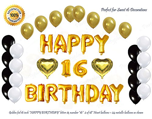 Golden Happy 16th Birthday Decorations Letters Balloon set by PartyPlace, 16 Inch Gold Letter Mylar Foil Balloon with 2 Heart Shaped Foil Balloons. Bonus-Metallic Balloons (Happy Birthday 16)