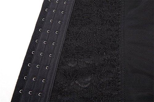 PULABO Corsé de Encaje para Mujer Deshuesados de Acero en Espiral Underbust Cintura Cincher Negro
