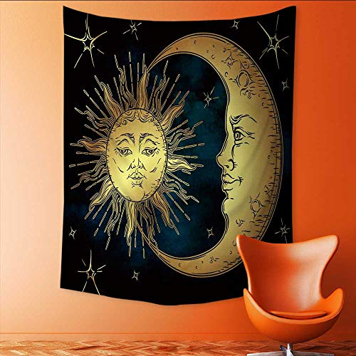 Auraisehome Tapestry Table Cover Bedspread Beach Towel Antique Style Hand Drawn Golden Sun Crescent Moon and Stars Over Blue blacksky Dorm Decor 60W x 80L INCH -